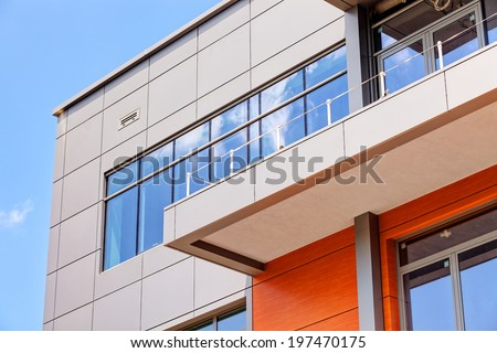details of aluminum facade and aluminum panels - stock photo