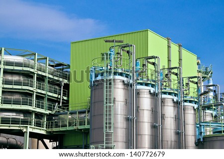Details of an industrial municipal waste incineration plant - stock photo