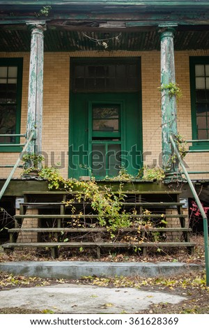 Details of an old building at an old military base - stock photo