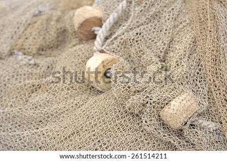 details of an old fishing net - stock photo