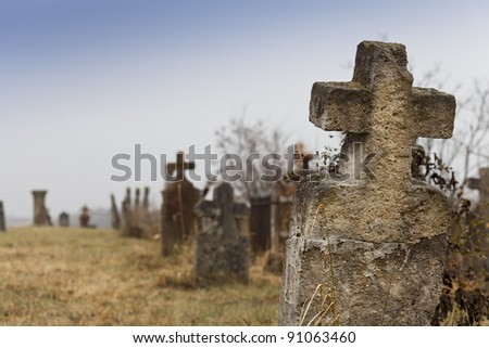 Details of an old unused cemetery in hungary - stock photo