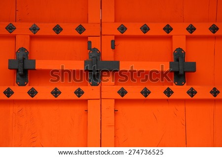 Details of ancient japanese gate - stock photo