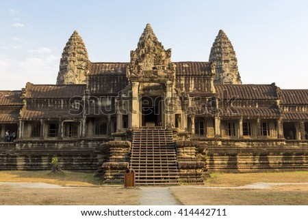 Details of antique architecture at Angkor Wat temple with morning light, Siem Reap province. Unesco heritage site in Cambodia