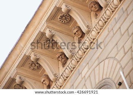 Details of architecture exterior wall of the church in seina Italy - stock photo
