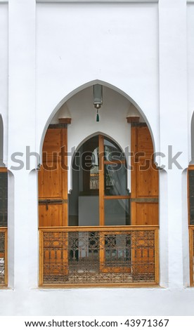 details of architecture of a moroccan riad - stock photo