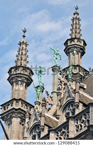 Details of architecture of historical building on Grand Place in Brussels, Belgium - stock photo