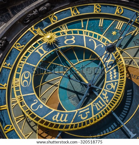 Details of  Astronomical Clock (Orloj) in the Old Town of Prague,Czech Republic. - stock photo