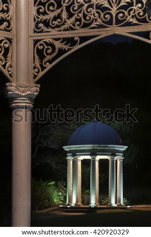 Details of bandstand in park at night - stock photo