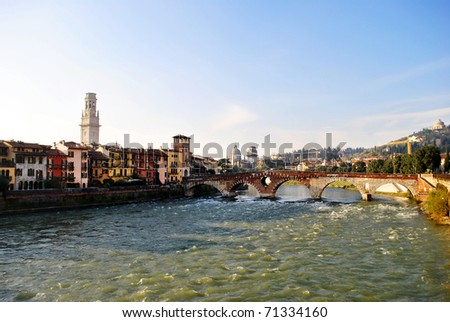 details of buildings in the historic center of Verona - stock photo