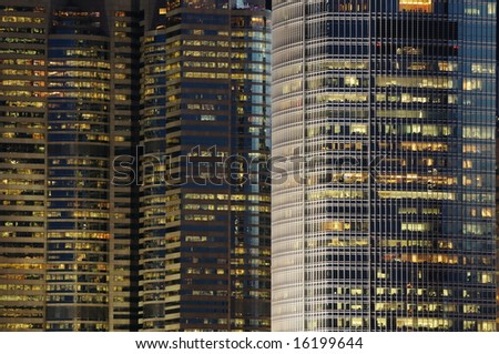 Details of business buildings night scene in Hong Kong