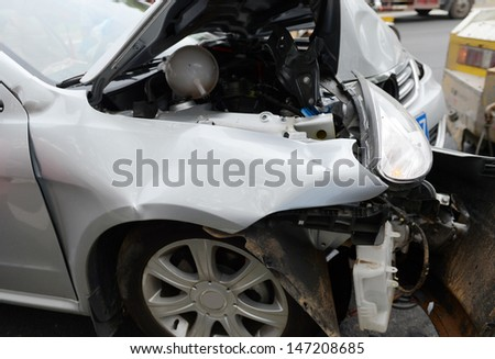 Details of car head in an accident. - stock photo