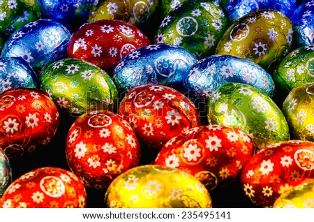 Details of Chocolate Easter Eggs. - stock photo