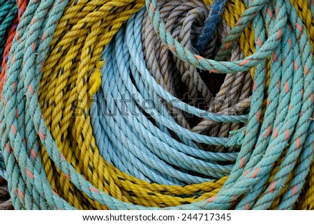 Details of colorful nylon ropes on a working New England Lobster boat - stock photo