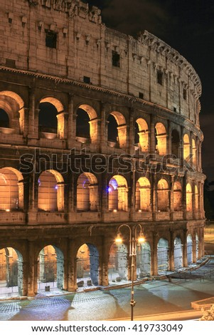 Details of  Colosseum in night view, Rome, Italy