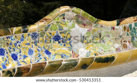 Details of elements of the Gaudi bench in park Guell, Barcelona, Spain, July 2016