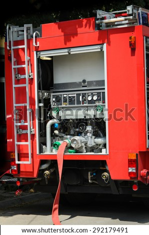 Details of firefighting truck - stock photo