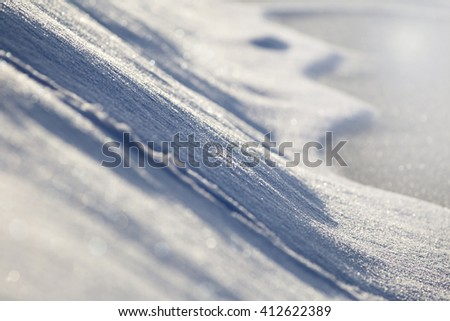 Details of glittering snow in Winter