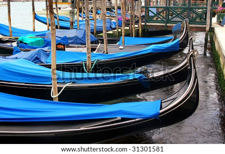 details of gondolas on water in Venice, Italy