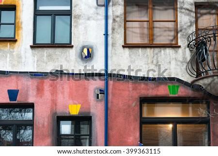 Details of Hundertwasser house in Vienna, Austria. Tourist attraction, unusual building. Europe travel. - stock photo