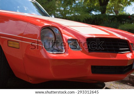 Details of immaculately tended retro classic car - stock photo