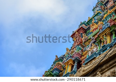Details of indian Kapaleeswarar temple , Chennai, India - stock photo
