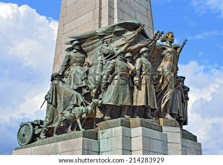Details of Infantry Memorial commemorating victims of World War I on Poelaert Square in Brussels, Belgium - stock photo