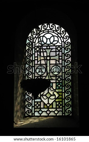 details of interior of cathedral in Aachen, Germany - stock photo