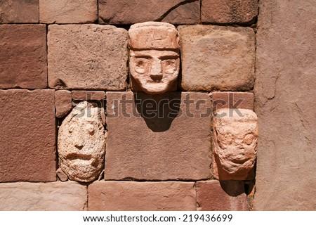 Details of Kalasayaya temple, Tiwanaku, Bolivia - stock photo