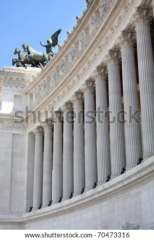 details of large column, Vittorio Emanuele, The Piazza Venezia in Rome, Italy - stock photo