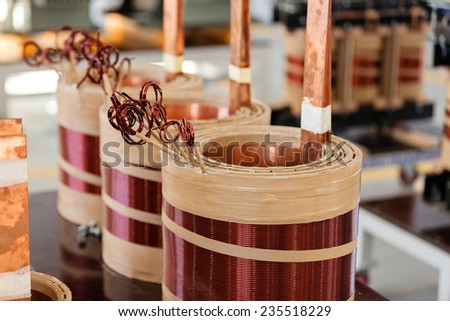 details of manufacturing new high voltage transformer  - stock photo