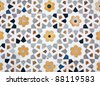Details of marble surface with stone inlay in Agra, India. - stock photo
