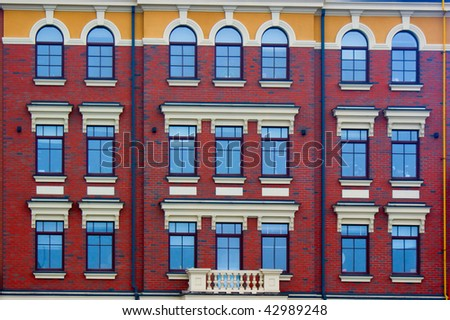 Details of modern building with by beautiful windows