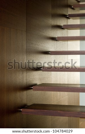 details of modern wooden stairs as a super background - stock photo