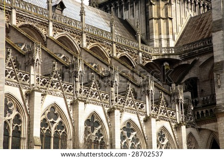 Details of Notre Dame Cathedral in Rouen, France. One of painting motives for Monet.