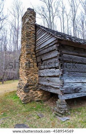Details of old historic log cabins located in the Great Smoky Mountains National Park, Tennessee, USA - stock photo