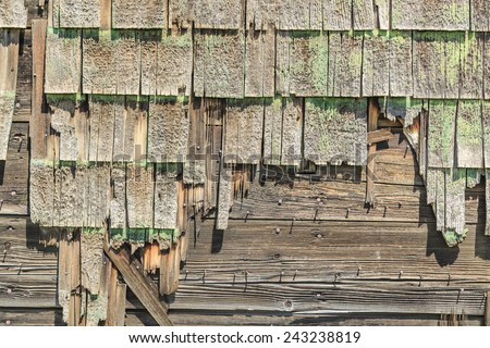 Details of old weathered wood shingles - stock photo