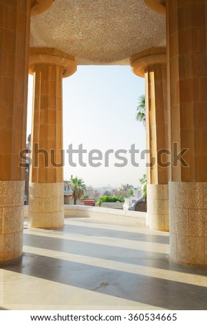 details of  park Guell at sunny summer day, Barcelona, Spain - stock photo