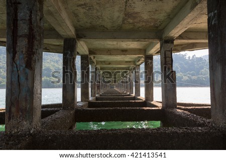 Details of pilars under a pier on Koh Chang island. Province Trat. Thailand kingdom.