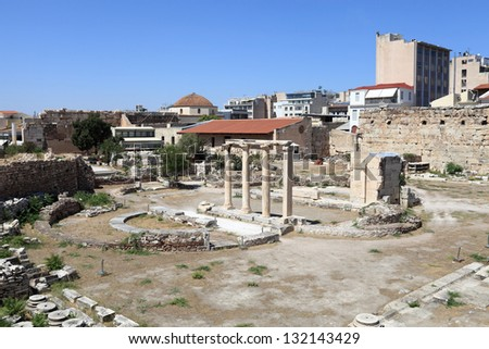 Details of roman agora in Athens, Greece - stock photo
