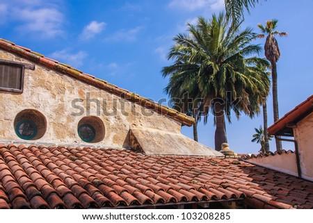 Details of Santa Barbara Mission building - stock photo