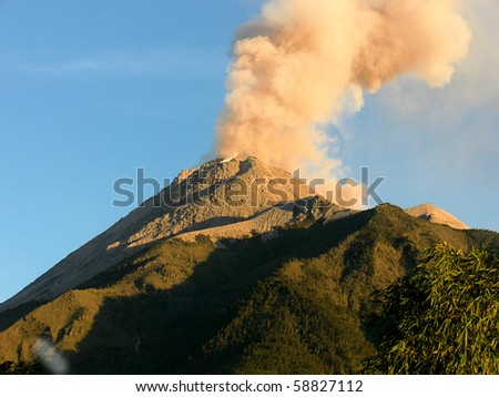 Details of sprouting hot cloud on volcanic eruption in Java  island, Indonesia - stock photo