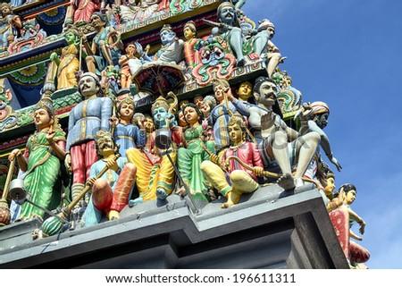 Details of Sri Mariamman Hindu Temple in Singapore. - stock photo