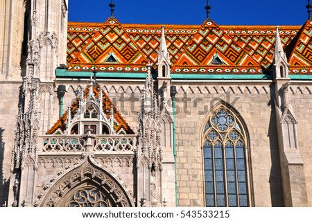 Details of St. Matthias Church in Budapest. One of the main temple in Hungary.