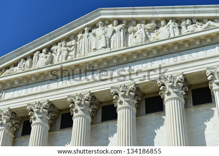 Details of Supreme Court's facade in Washington, DC, United States - stock photo