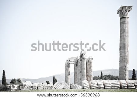 Details of Temple of Zeus in Athens, Greece - stock photo