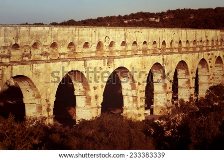 Details of the beautiful Pont Du Gard Roman bridge in France - stock photo