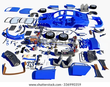Details of the car on a white background. - stock photo