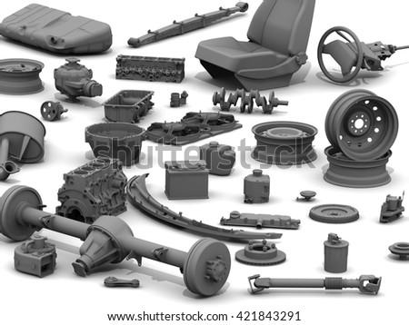 Details Car Parts Car Lying On Stock Illustration 421843291 ...