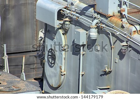details of the cover of a modern battleship - stock photo