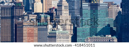 Details of the diverse architecture of New York City's Financial District; panoramic photo - stock photo